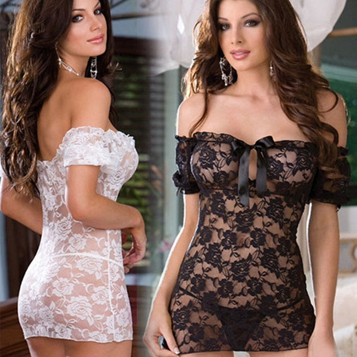 VenusFox Sexy Lingerie Solid Underwear Tracksuit Lace Dress