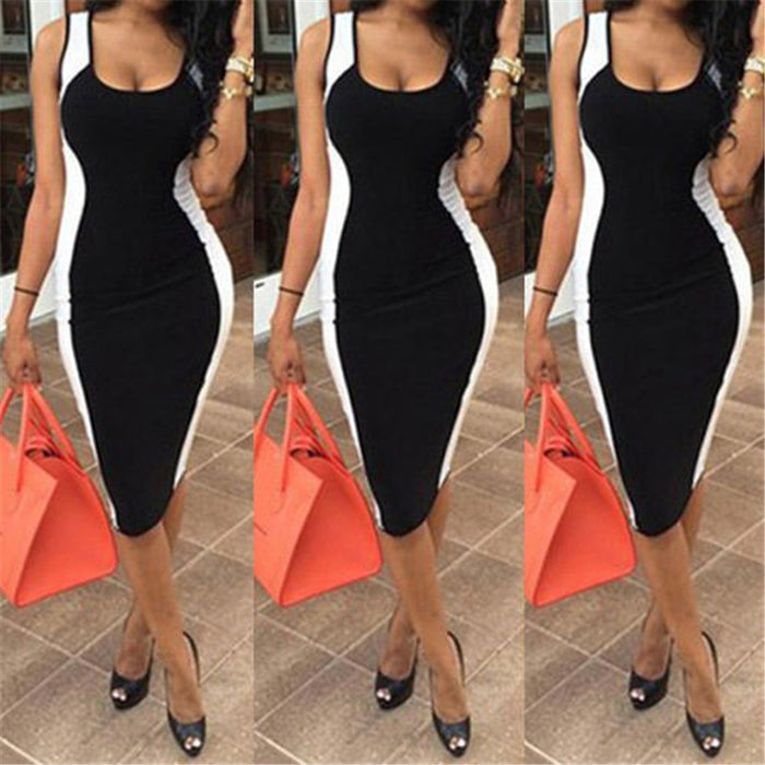VenusFox Women Sexy Sleeveless Black And White Bodycon Dress