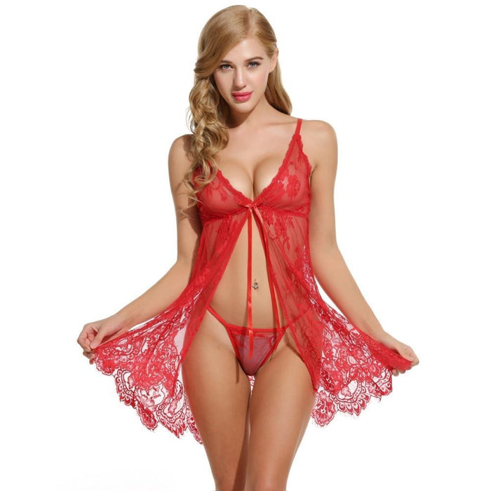 VenusFox Sexy Erotic Hot Open Floral Lace Babydoll Lingerie