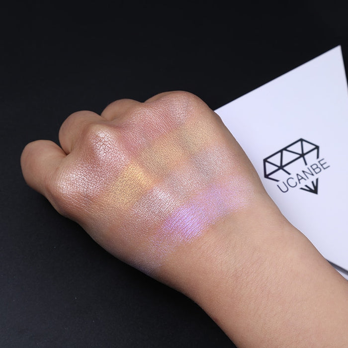 Triangle Glitter Eyeshadow Palette  Face Highlighter Makeup Shimmer Shine Powder