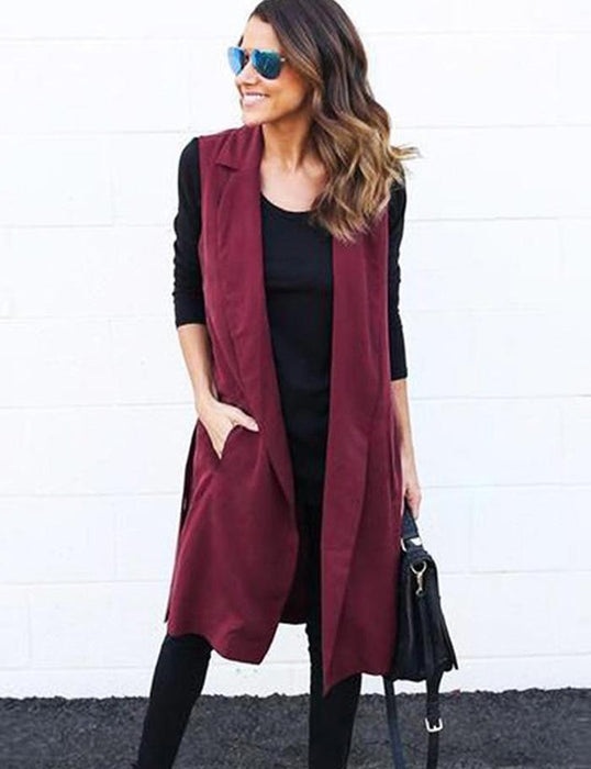 VenusFox Belted Sleeveless Long Vest Coats