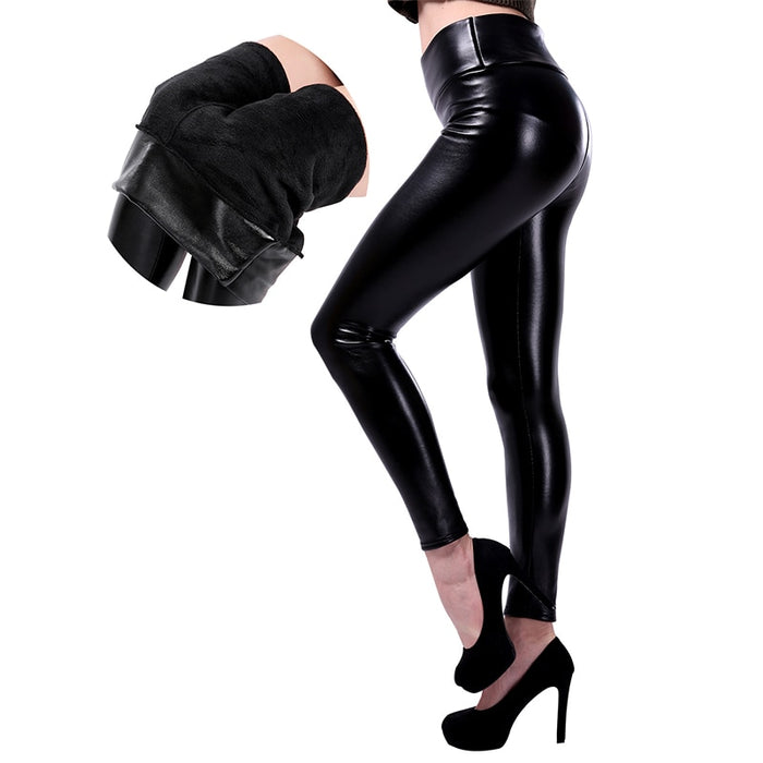 VenusFox High Waist Warm Velvet Plus Size Leather Leggings