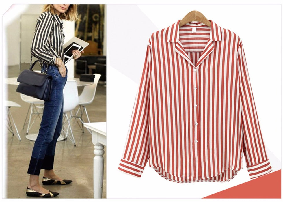 VenusFox Spring Autumn Stripped V-Neck blouse Long Sleeve Work Shirts office Tops