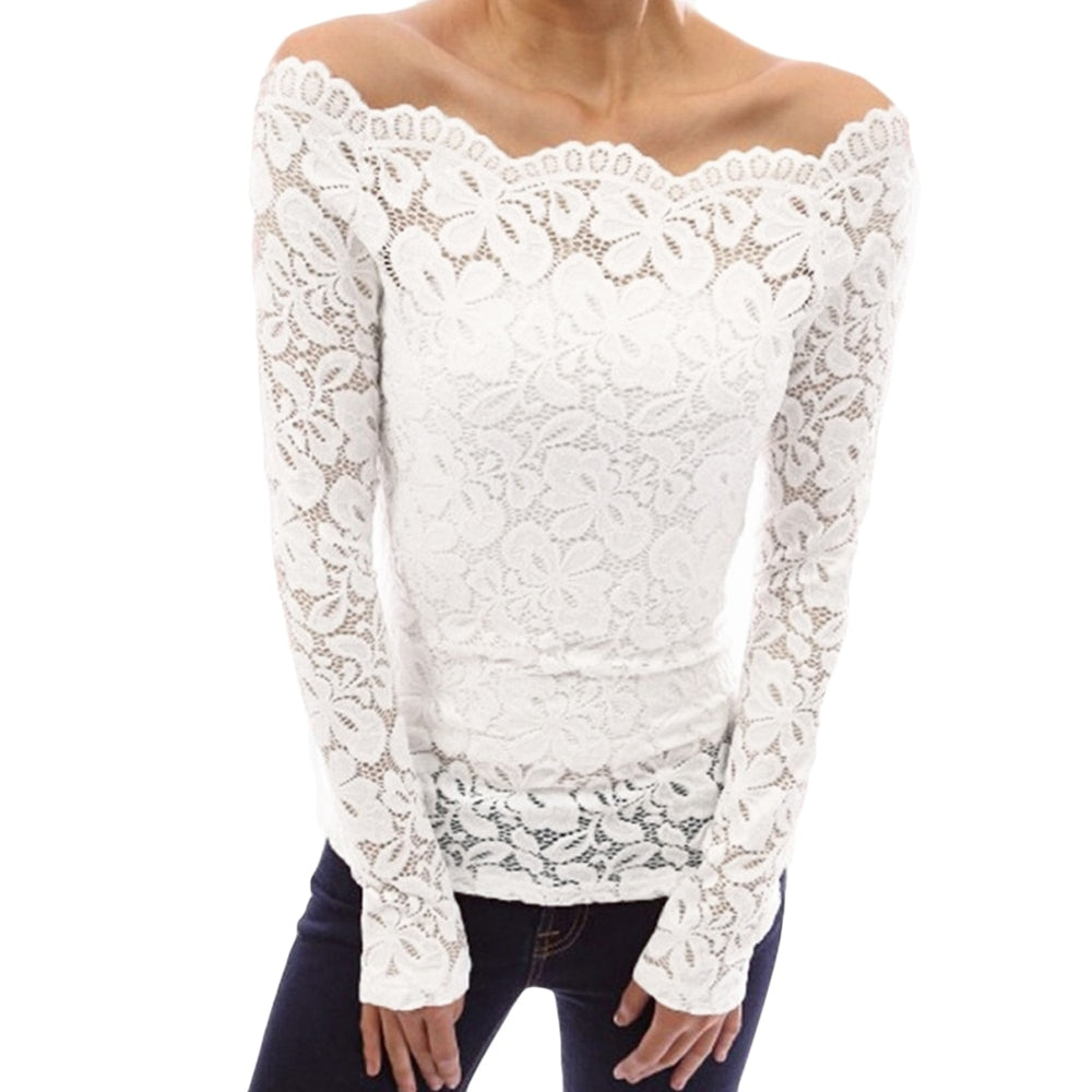VenusFox Sexy Lace Hollow Out Off Shoulder Slash Neck Long Sleeves Blouse Tops