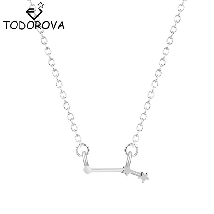 Women Long Chain Zodiac Sign 12 Constellation Star Choker Necklaces Necklaces