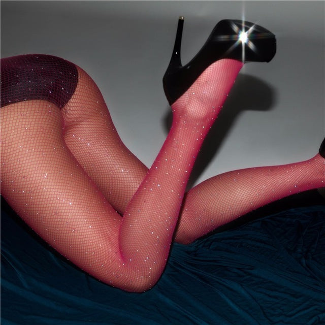 VenusFox Women Plus Size Bling Rhinestone Mesh Fishnet Pantyhose Stockings