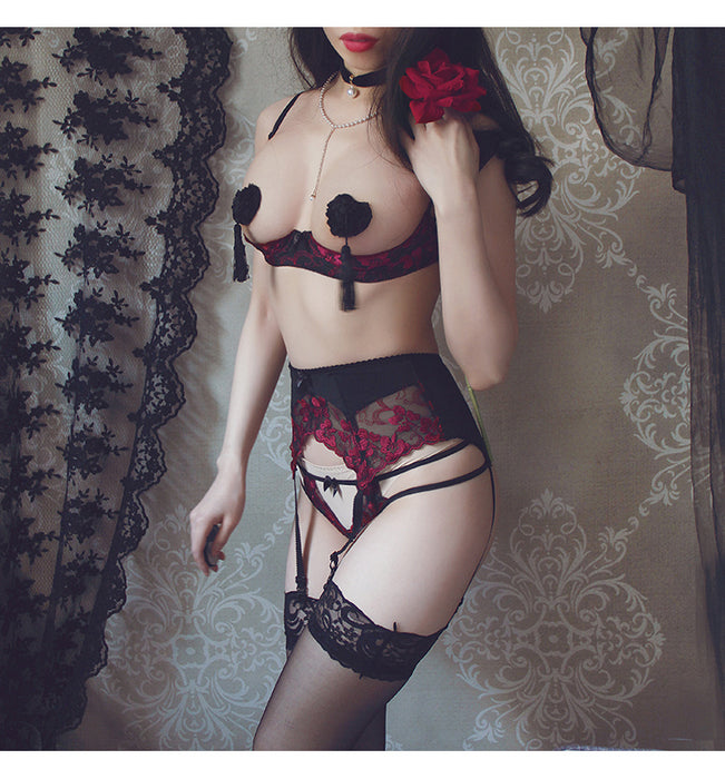 VenusFox Intimates Embroidery Lingerie and Panty with Garters Set