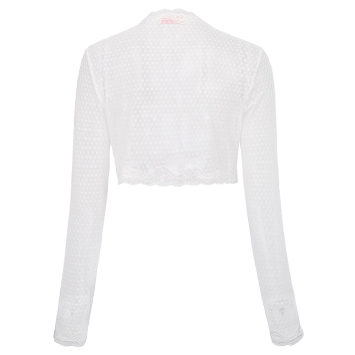 VenusFox Spring Summer Long Sleeve Open Stitch Casual Outwear Crop Jackets