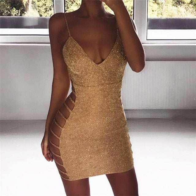 VenusFox Side Hollow Out Mini Sexy Bodycon Bandage Dress