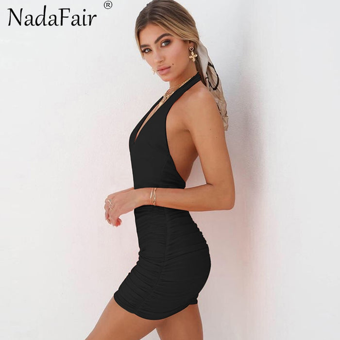 VenusFox Backless Deep V Neck Sexy Club Bodycon Summer Dress
