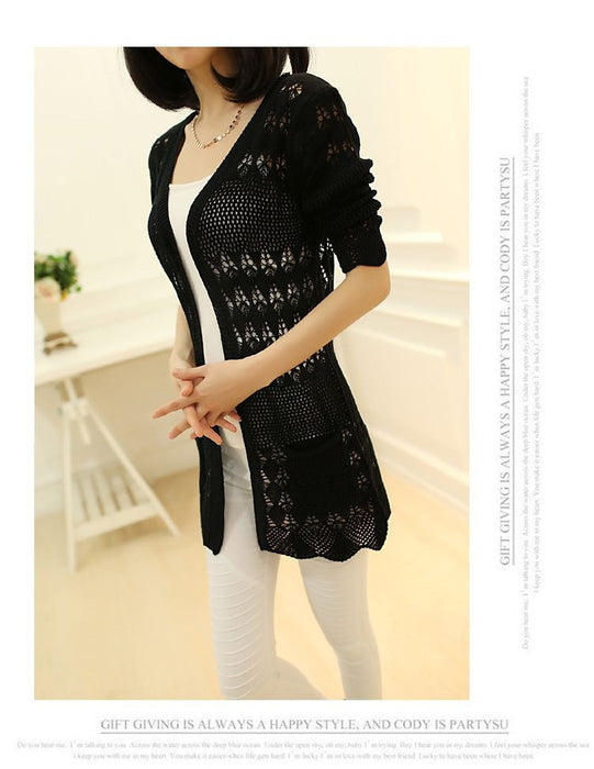 VenusFox Thin knit cardigan sweater spring jacket in the long section of a hollow loose shawl