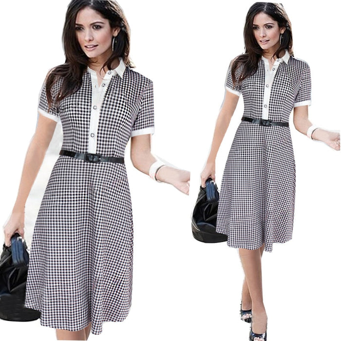 VenusFox Plaid Short Sleeve Above knee Dress
