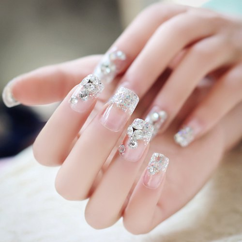 24 PCS Shining Rhinestone False Nails Lace Designed Square Full Short