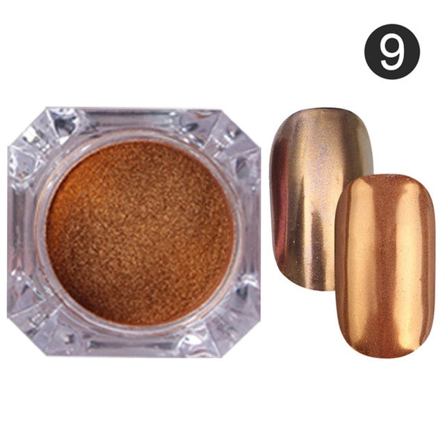 1Box Mirror Rose Gold Black Blue Purple Nail Glitter Powder Shining Nail Art