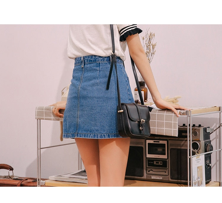 VenusFox High Waist  A-line Mini Denim Pockets Skirt