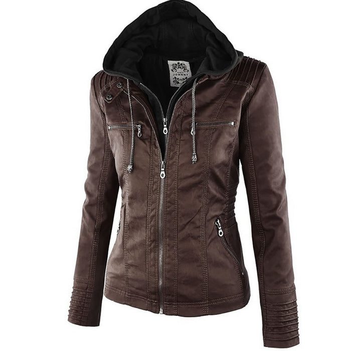 VenusFox Windproof Faux Leather Jacket Plus Size