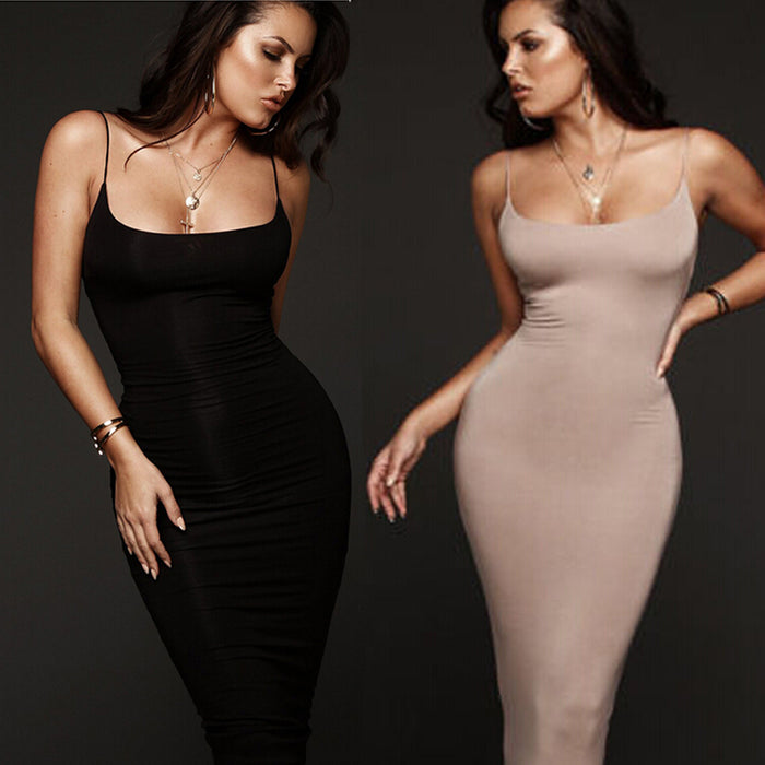 VenusFox Sexy Women Casual Tight Cocktail Party Sleeveless Bodycon Dress