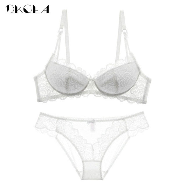 VenusFox Embroidery Push Up Bras Lace Lingerie Set