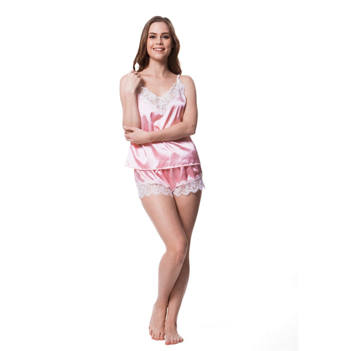VenusFox Spaghetti Strap Lace Sexy Top + Shorts Pajamas Set