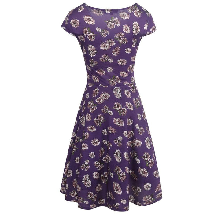 VenusFox Floral Print Short Sleeve Knee Length Dress
