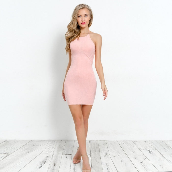VenusFox Backless Cotton Bodycon Party Mini Dresses