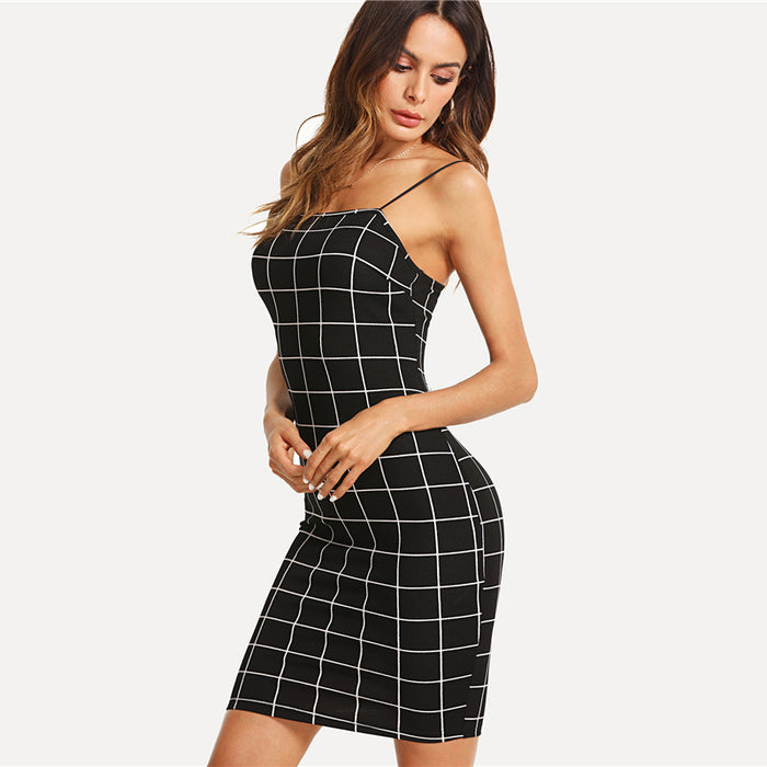 VenusFox Women Spaghetti Strap Bodycon Dress