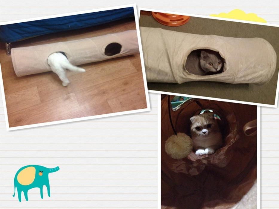 Pet Tunnel Long 120cm 2 Holes Cat Teaser Hide Tunnel Toys With Ball Collapsible Cat Tunnel