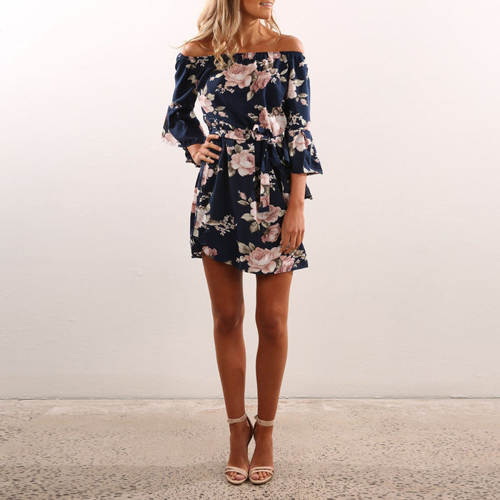 VenusFox Floral Off the Shoulder Boho Beach Dress