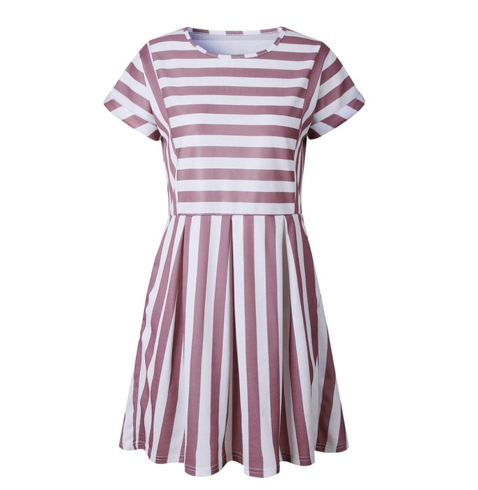 VenusFox  A-Line Striped Short Sleeve Casual Dress