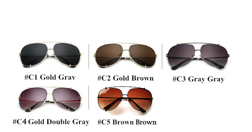 Fashion Oversized Pilot Sunglasses UV400 Retro Big Frame Sun Glasses