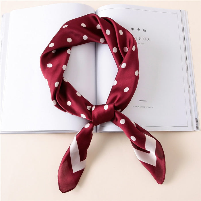 Women Fashion Luxury Striped Dots Pure Silk Foulard Square Head Scarf