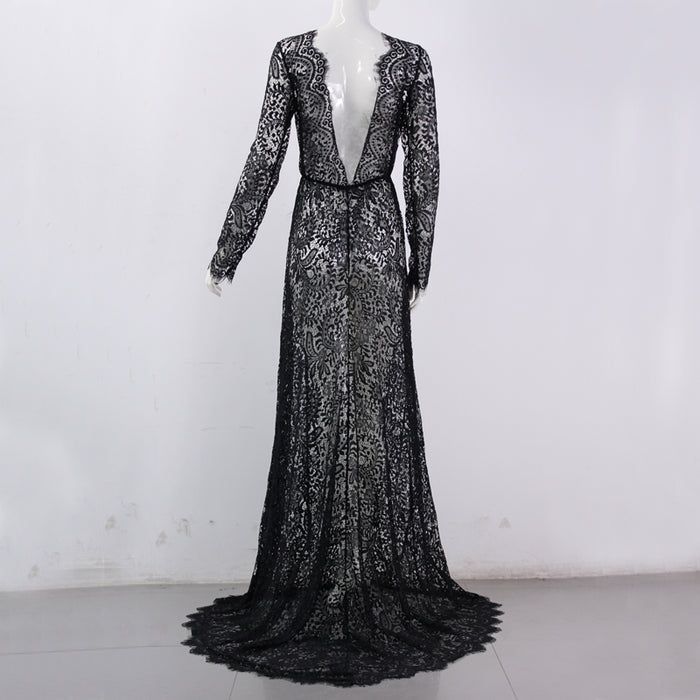 Venusfox Sexy See Through Floral Elegant Lace Maxi Dress