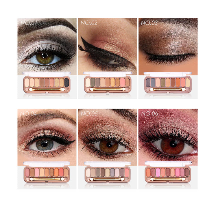9 Colors Palette Eyeshadow With Brush Matte Makeup Long Lasting Shimmer
