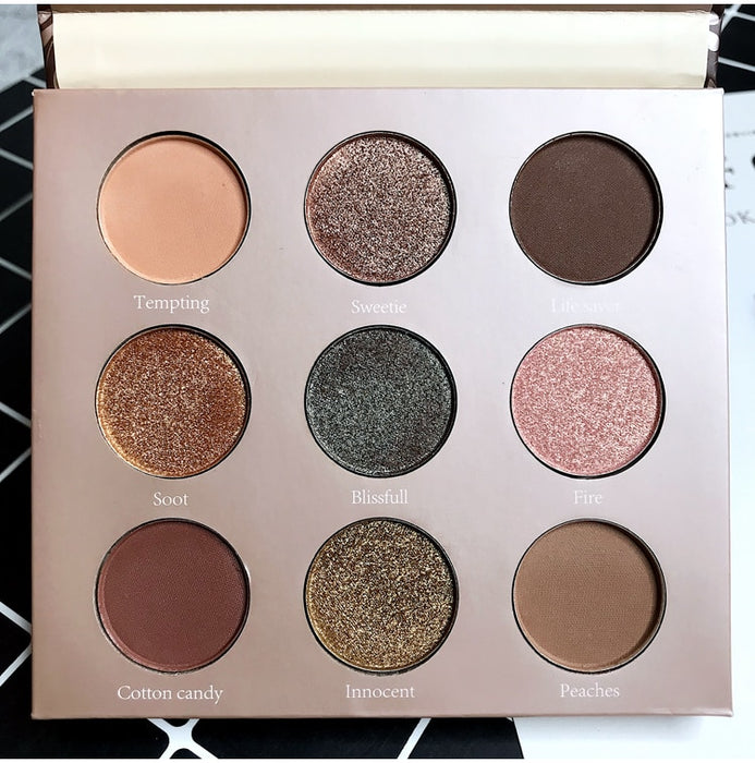 9 Colors Makeup Pressed Eyeshadow Glitter Shimmer Matte Eyeshadow Palette