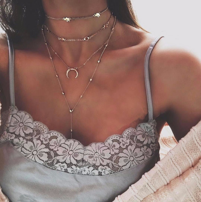 women Fashion Jewelry Long moon Tassel Gold color Choker Chain Necklace
