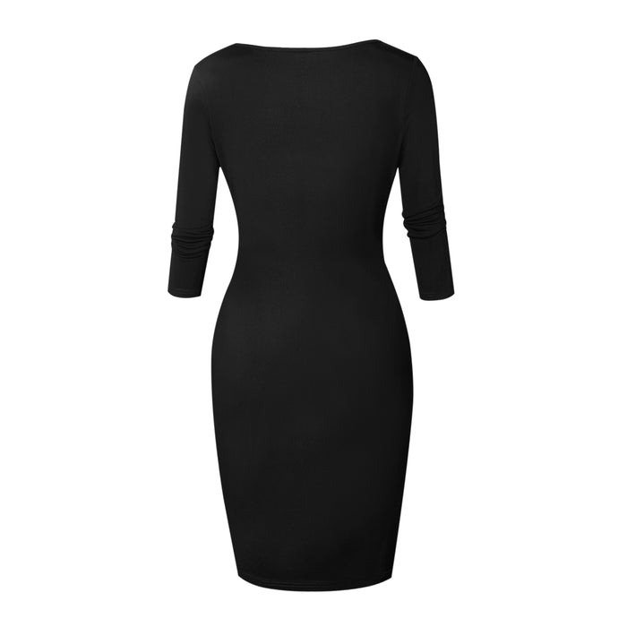 VenusFox Sexy Club Low Cut Zipper Bodycon Dress Fashion Party Dresses