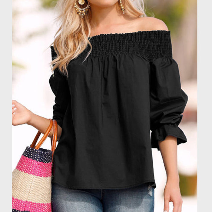 VenusFox Womens Off Shoulder Bowknot Slash Casual Loose Tops Blouse