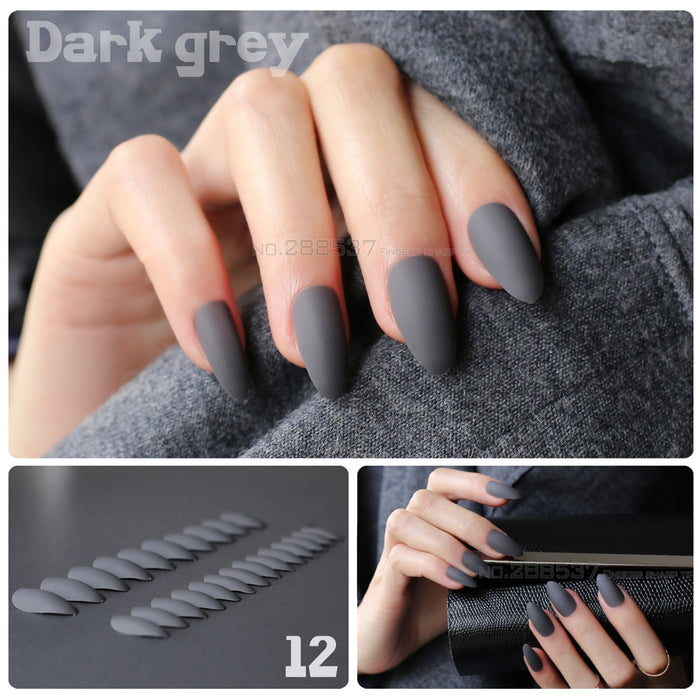 Matte False Short Pointed fake nails full cover