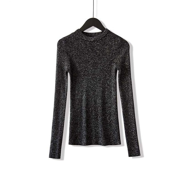 VenusFox Shiny Long Sleeve Pullover Basic Sweaters