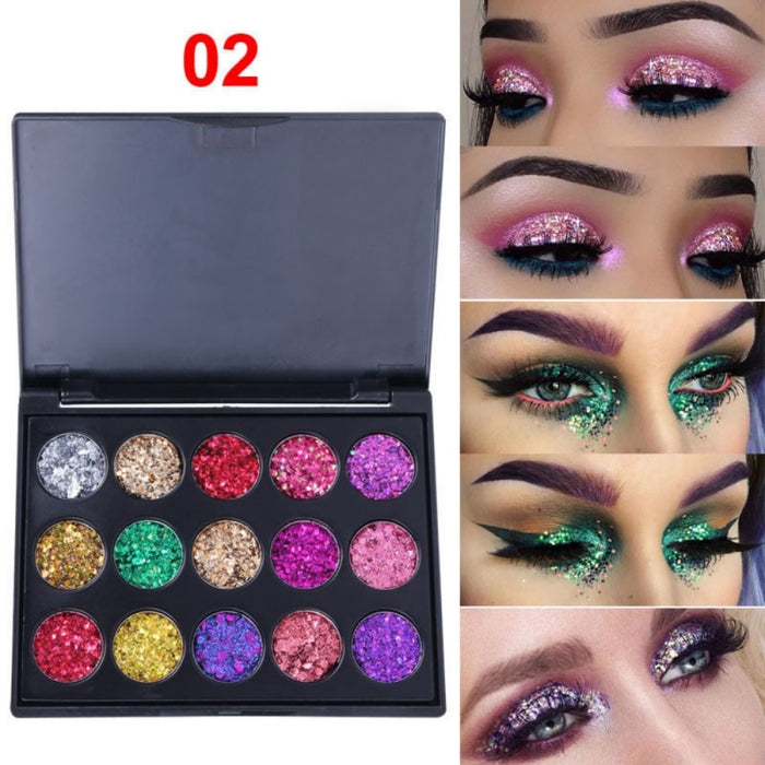 Natural Waterproof Glitter Eyeshadow Palette Shining Metals Powder Shimmer Pigments Kits 15 Colors