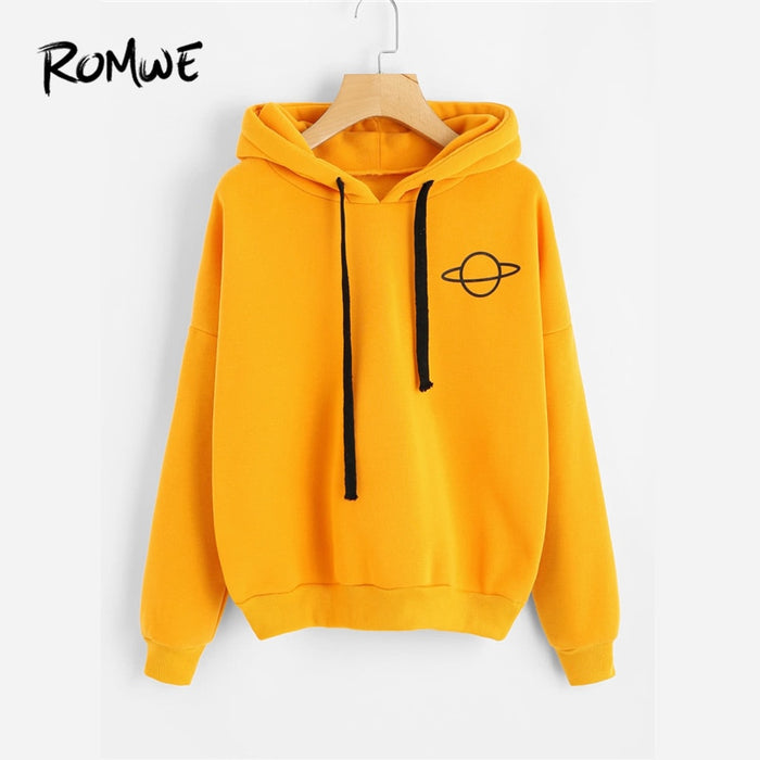 VenusFox Planet Print Yellow Pullovers Hooded Sweatshirt