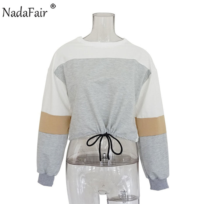 VenusFox Patchwork Loose Casual Cropped Sweatshirt