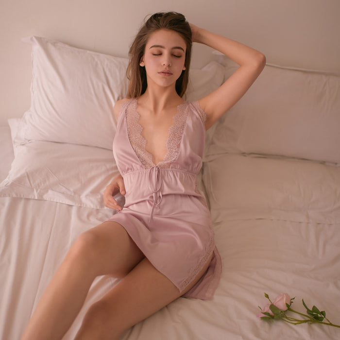 VenusFox V Neck Sleeveless Spaghetti Strap Nightdress Satin Sleepwear