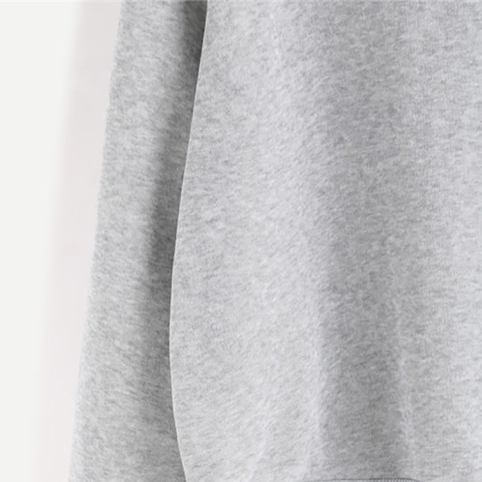 VenusFox Light Grey Letter Print Round Neck Long Sleeve Female Casual Sweatshirt