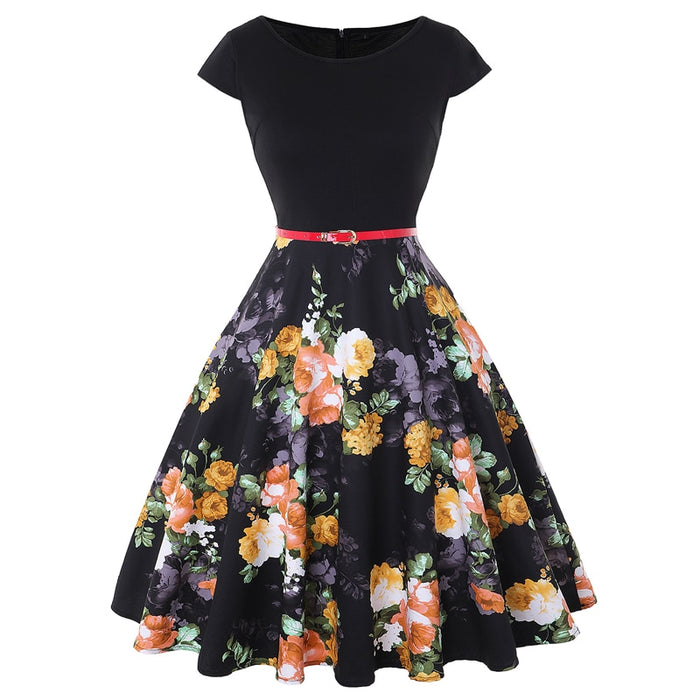 VenusFox Vintage Retro 50s Floral Pin up dress