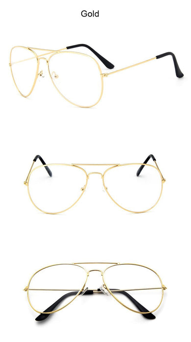Women Classic Transparent Clear Lens Optical Aviation Pilot Style Gold Black Frame Eyeglasses