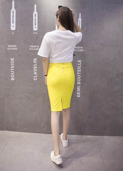 VenusFox High Waist Bodycon Elastic Knee Length Pencil Skirt