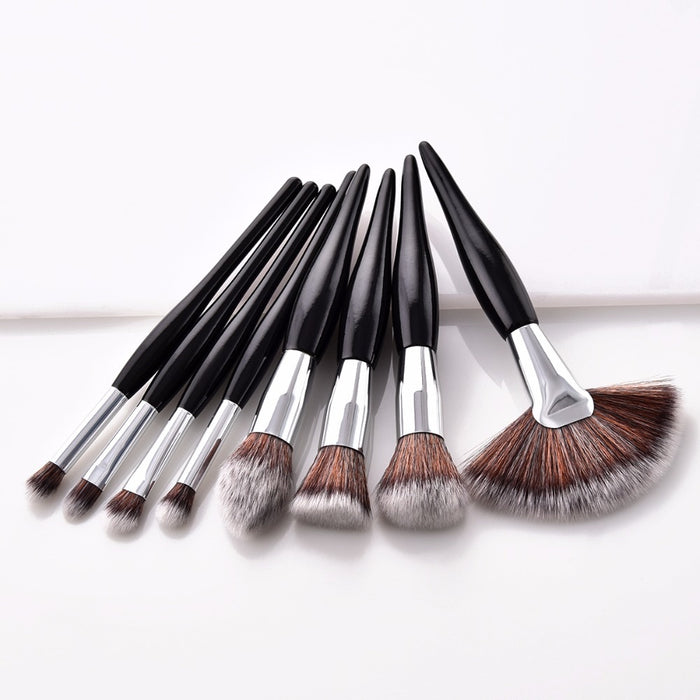 8 pcs/set soft synthetic head wood handle makeup brush kit