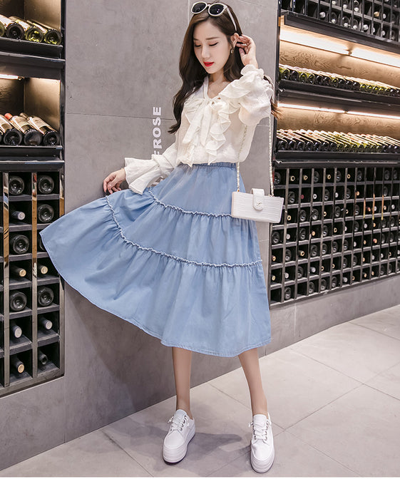 VenusFox Casual Button Solid Color Long Denim Skirt