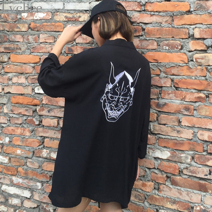 Harajuku Embroidery Lace Up Long Sleeve Cardigan Kimono